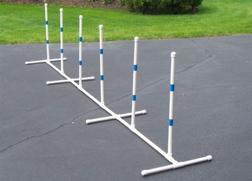 weave poles-agility gear - Canine Sports: How To Build A Backyard Agility Course