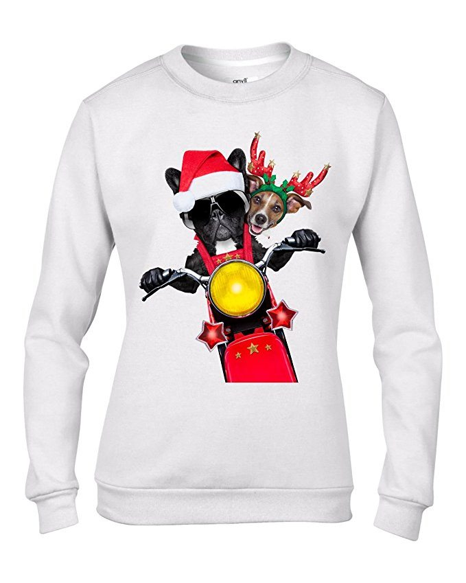 Tribal T-Shirts French Bulldog and Jack Russell Terrier Santa Claus Style Father Christmas Women's Sweater \ Jumper
