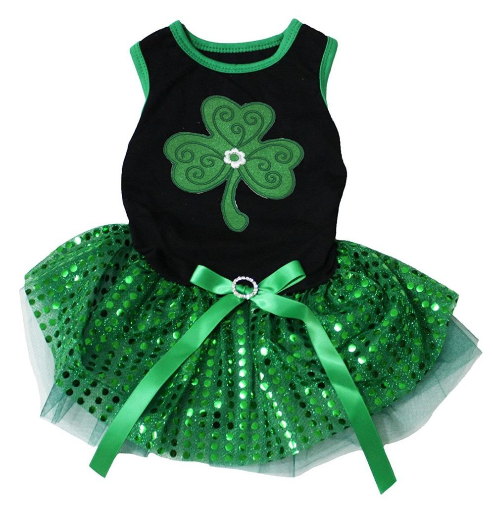 Green Clover Print Black Top Sequins Tutu Dog Dress