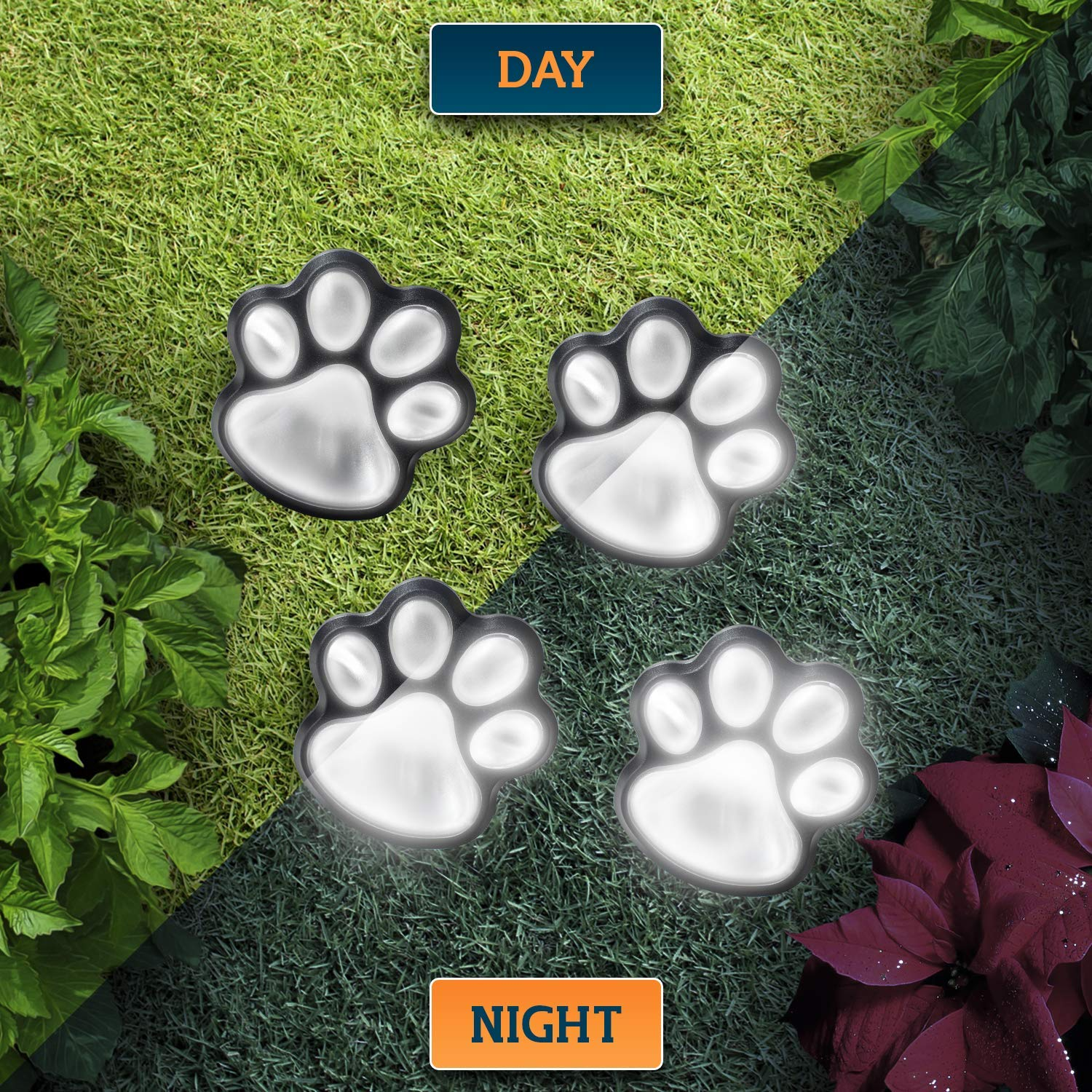 Solar Decorative Paw Print Garden Lights'
